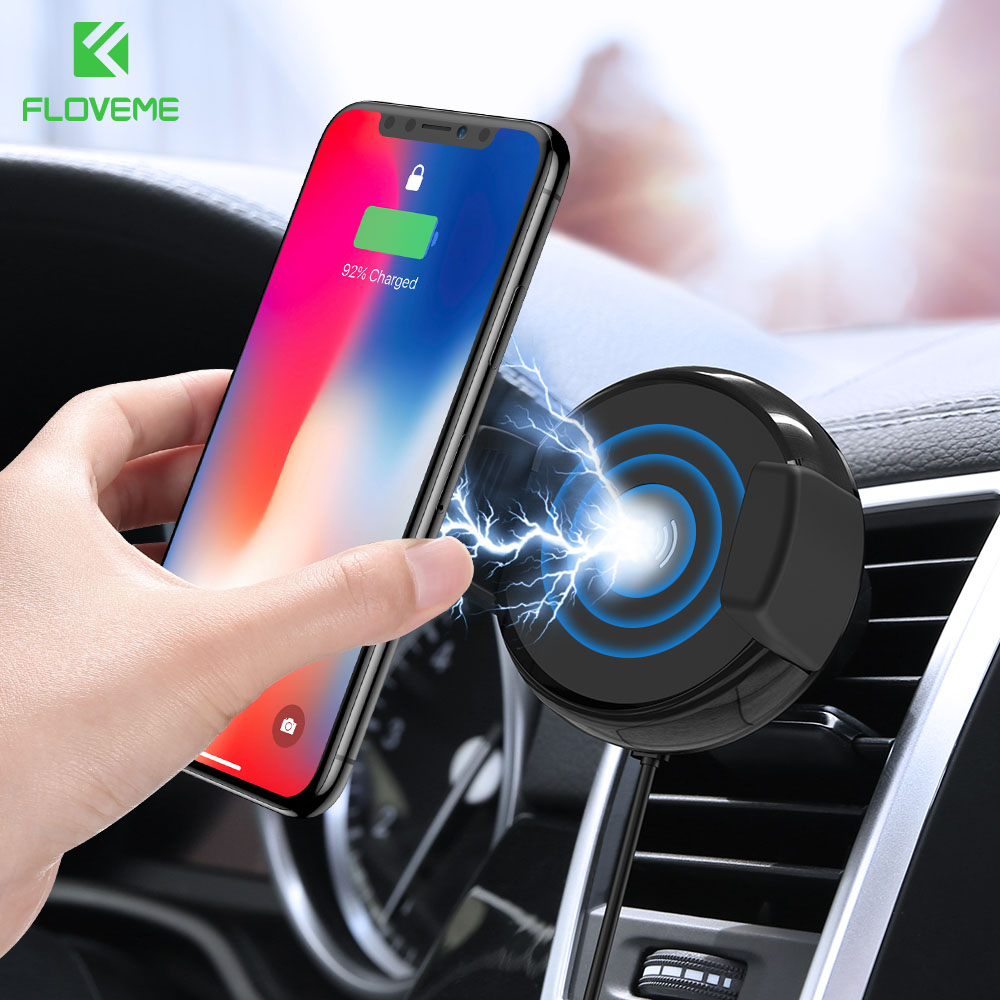 Magnet Phone Holder for Car Silver FLOVEME Magnetic Car Mount Air Vent Magnet Holder Cradle Stand Support with Cable Clip Grip for iPhone Xs Max XR X 8 7 6 6S Plus Samsung S9 S8 Plus S7 S6 Edge LG