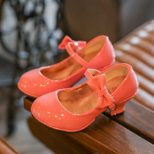 Princess Kids Leather Shoes For Girls Bow Casual Glitter Chi