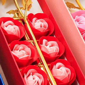 Romantic Artificial Dried Flowers Gold Foil Rose Soap Flower Bear Valentine's Day Gift Box Festive Party Supplies