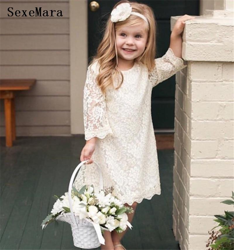 New Boho Ivory White Lace Flower Girls Dresses Girls Clothes Kids Toddler Birthday Dresses Long Sleeves