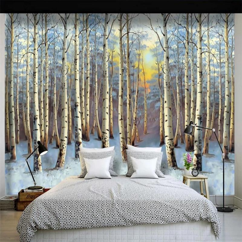 Northern European-Style Hand-Painted Woods Oil Painting Wallpaper Living Room Wall Cloth Bedroom TV Background Wallpaper Large C