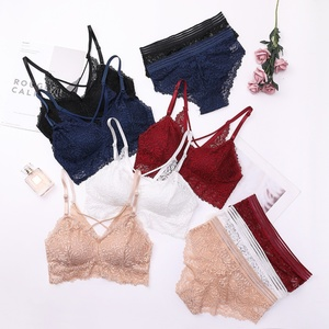 Women Lace Underwear Sets Female Fashion Push Up Bras Lady Sexy Brassiere And Panty Sets Jacquard Bra+ Lace Briefs Hot Selling(China)