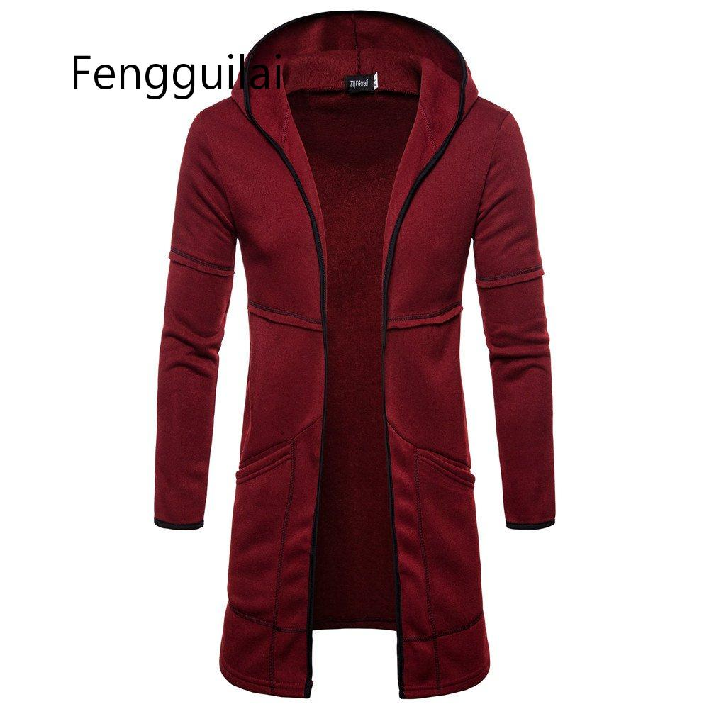 FENGGUILAI Men's Sweater Long Large Pocket Hooded Cardigan Fashion Windproof Casual Europe Size Top Coat Black Gray Nvay Blue