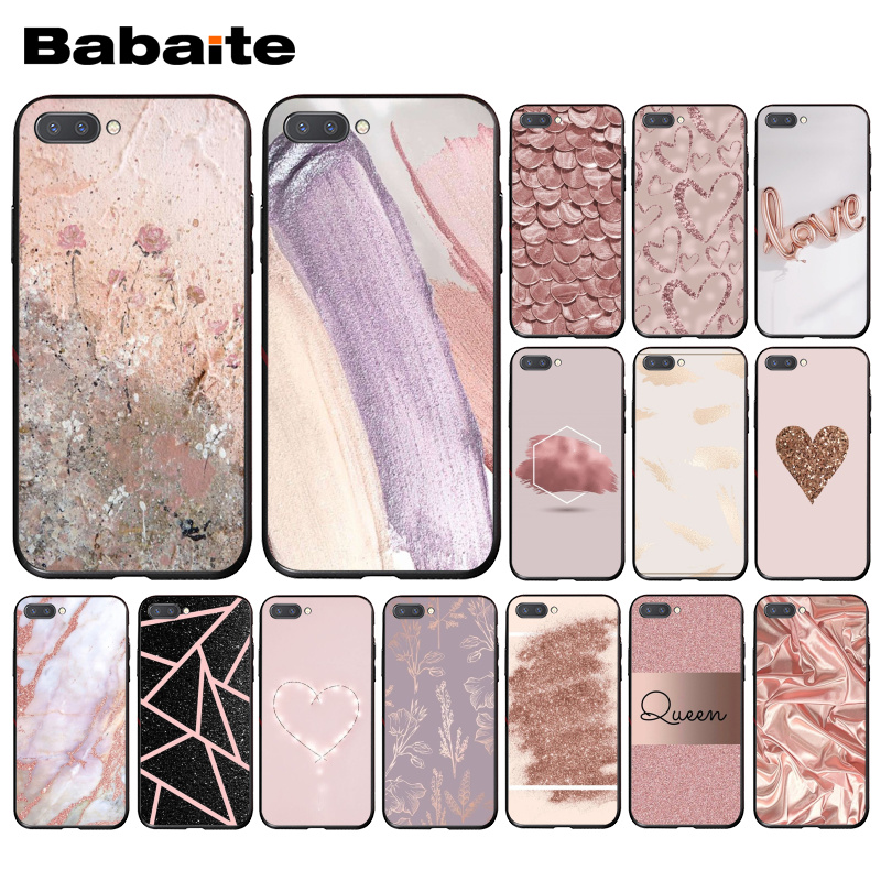 Babaite <font><b>Gold</b></font> Rose Glitter Pink Love Herat Phone Case for Huawei <font><b>Honor</b></font> 8X <font><b>9</b></font> 10 20 <font><b>Lite</b></font> <font><b>Honor</b></font> 7A 7C Honor10i View20 image