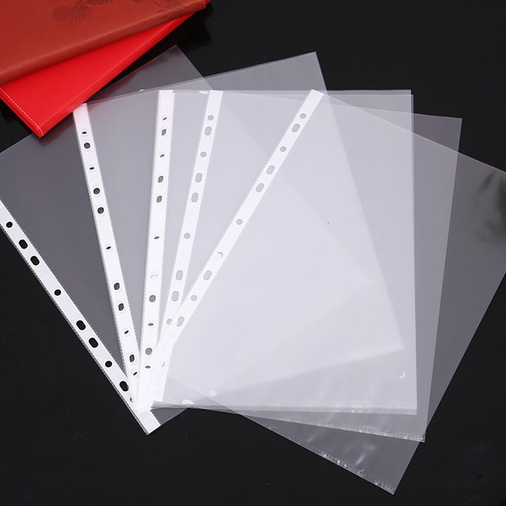 100pcs Ultra Thin A4 Plastic 11-Hole Loose Leaf Transparent Sheet Documents Protectors #BW