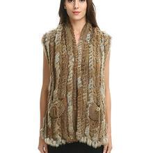 Вязаный жилет из натурального кроличьего меха/куртка/пальто Зимняя теплая Женская одежда из настоящего меха V728