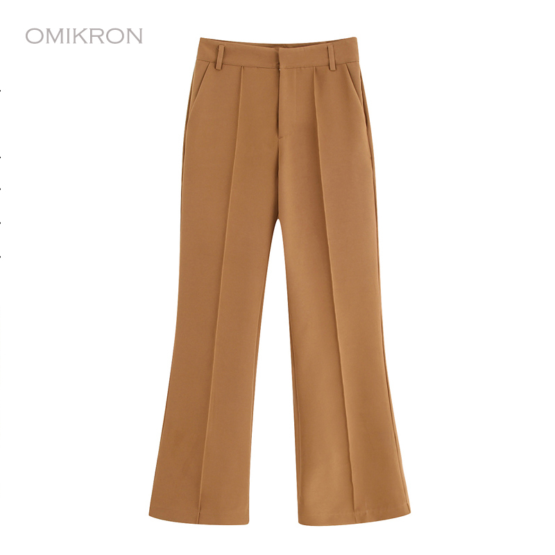OMIKRON Fashion Women Vintage High Waist High Waist   Wide     Leg     Pants   Women Loose Trousers 2019 Office Lady Elegant   Pants   Clothing