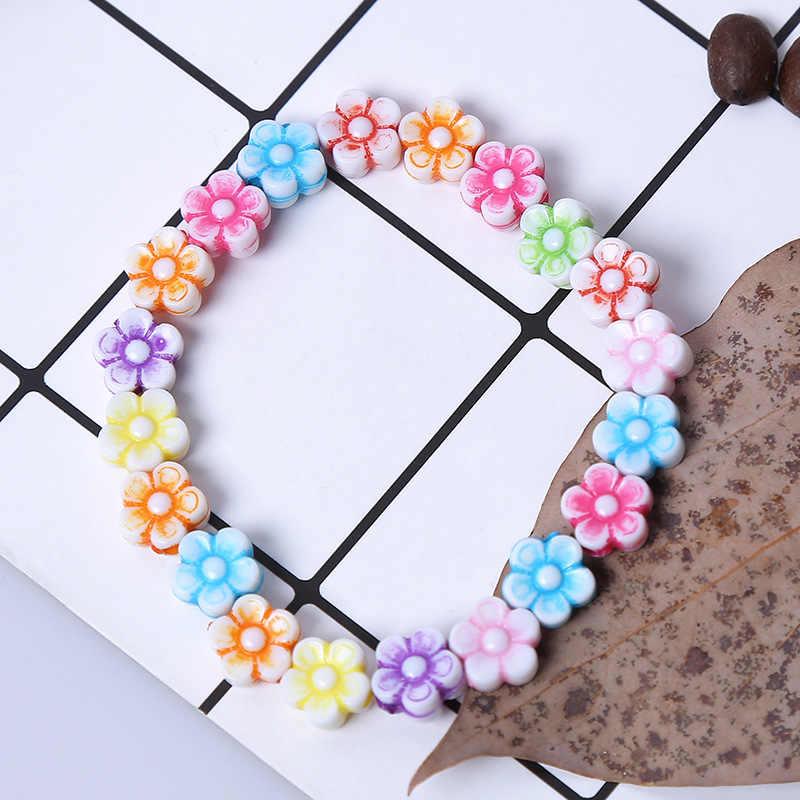 קיץ סגנון ילדי ילדים חמוד צבעוני פרחי אקריליק צמיד & צמידי עבור ילדה מסיבת יום הולדת תכשיטי מתנה סיטונאי
