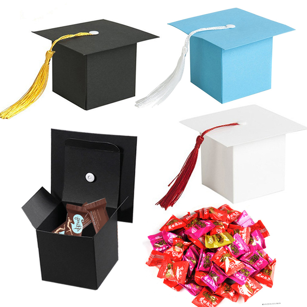 10pcs Paper Graduation Cap Candy Treat Boxes Gift Boxes With Tassel Graduation Party AN88