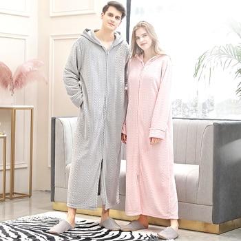 Warm Coral Fleece Bathrobe Cozy Flannel Hooded Bath Robe Night Dressing Gown Women Sleepwear
