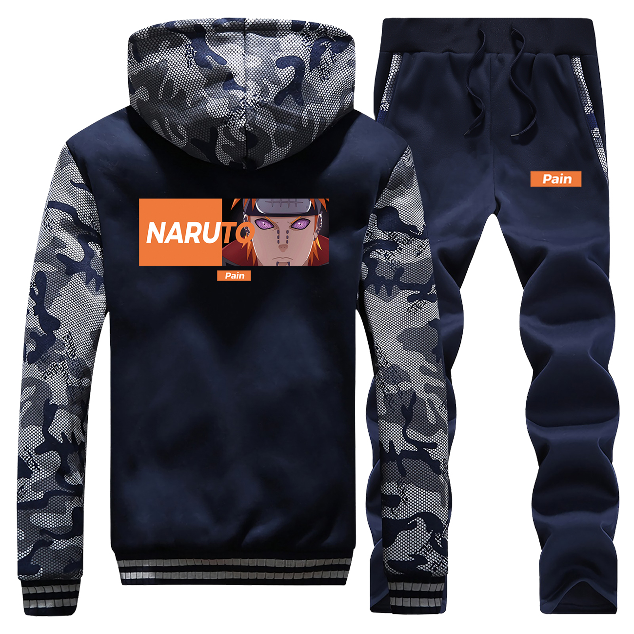 Hot Sale Winter Hoodies Mens Fleece Warm Jackets Camouflage Suit Naruto Japan Anime Streetwear Coat Thick + Pants 2 Piece Set