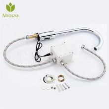 Lavabo bataryaları otomatik kızılötesi sensör musluk güverte dağı akıllı dokunmatik ücretsiz tek soğuk endüktif su dokunun mutfak banyo için