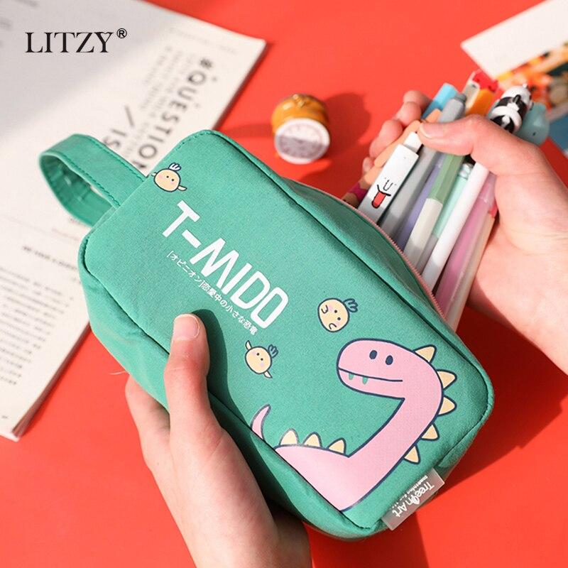 Cute Dinosaur Large Capacity Pencil Case Kawaii Cotton Pencil Bag For Girls Boys Office School Big Pen Box Stationery Supplies