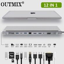 12 IN 1 MST tipo C HUB a HDMI compatibile USB 3.0 HUB Dock VGA RJ45 convertitori adattatore USB PD per Loptop Thunderbolt 3 HUB USB C