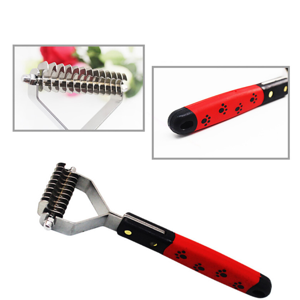 New Stainless Double-sided Pet Cat Dog Comb Brush Professional Large Dogs Open Knot Rake Knife Pet Grooming Products Christmas