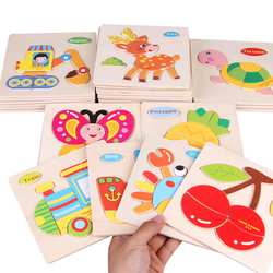 1pc Wooden 3D Puzzle Jigsaw Wooden Toys For Children Cartoon Animal Puzzles Intelligence Kids Brain Teaser Educational Toy