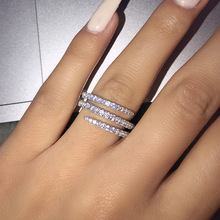 925-Sterling-Silver Rings Jewelry Circle-Design Cubic-Zirconia Personality Women Three