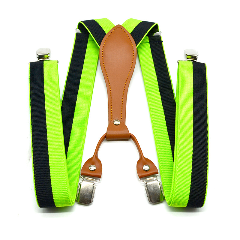 Winfox Striped Suspenders For Women/Men Elastic Y-back 3.5cm Width Adjustable Clips On Braces Straps Clothing Accessories