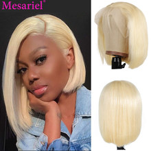 613 Blonde 13x4 Lace Front Wigs Short Bob Wigs Brazilian Remy Straight Preplucked Human Hair Wigs Transparent Lace Frontal Wigs