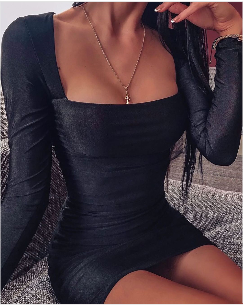 Kylie jenner Shape Black Long Sleeves Slinky Square Neck Ruched Bodycon Tully Dress - kylie-jenner-outfits