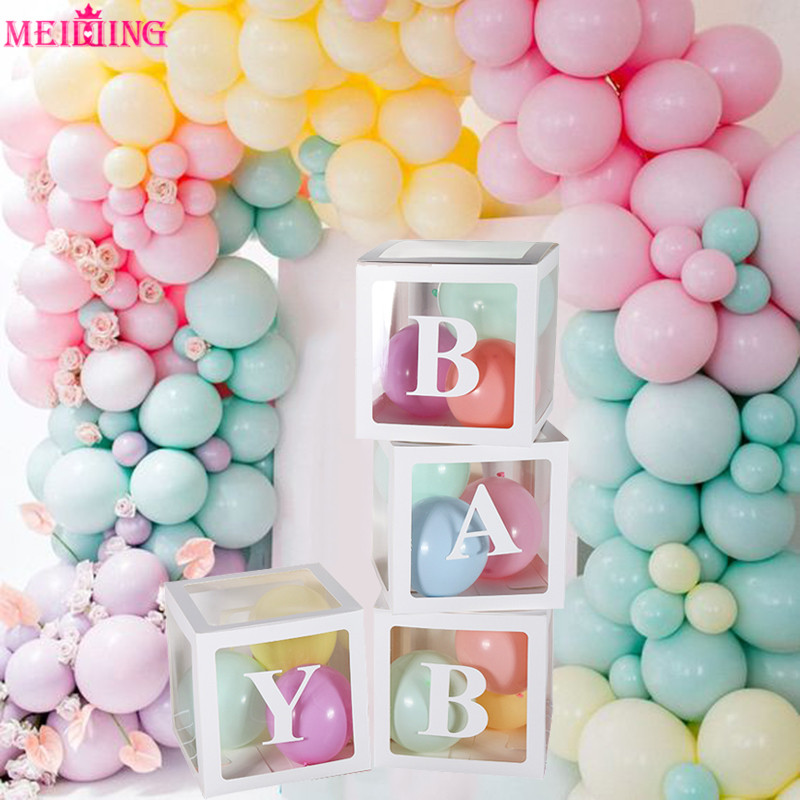 A Z Letter Name Transparent Balloon Box Baby Shower Decorations Boy Girl One Year Birthday Party Gift Box Wedding Decorations Party Diy Decorations Aliexpress