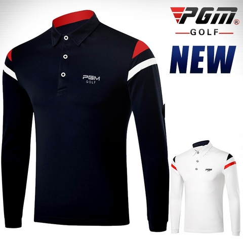 PGM 2019 Autumn Dry Fit Men Golf Shirts Long Sleeve Breathable Tshirts Turn Down Collar Golf Clothing Men Table Tennis Shirt Karachi