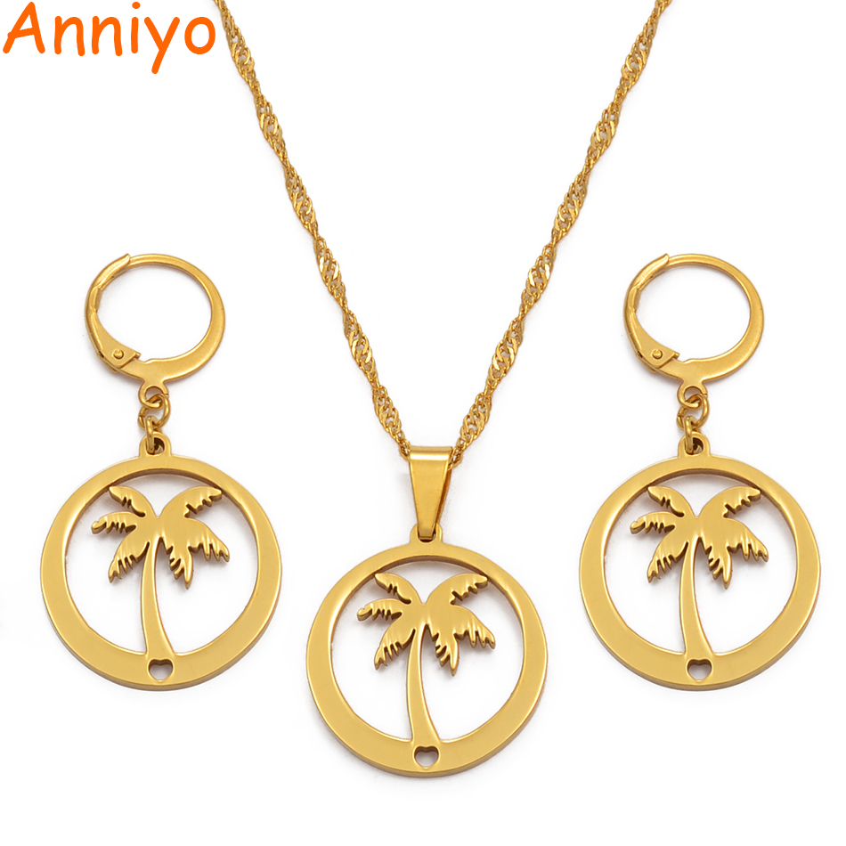 Anniyo Coconut Tree Earrings /GirlsGold Color Jewelry Beach More Models Please Check My Store  031721S@