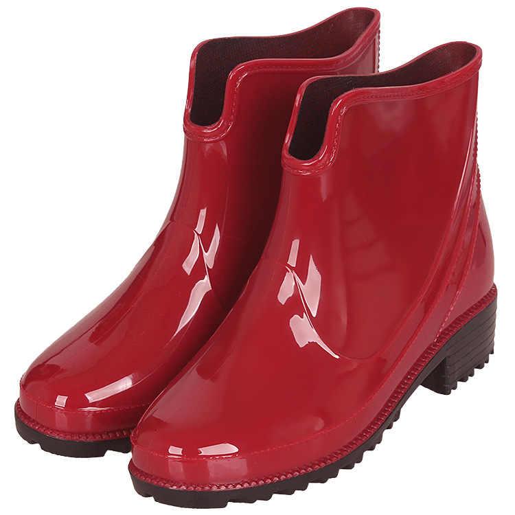 PVC kaymaz yarım çizmeler kadın takozlar büyük boy 43 moda kelebek düğüm yağmur çizmeleri kızlar için katı rahat ayakkabılar Woman202