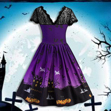 halloween dress women pumpkin print vintage 2019 fall gothic dresses womens o-neck black plus size party night