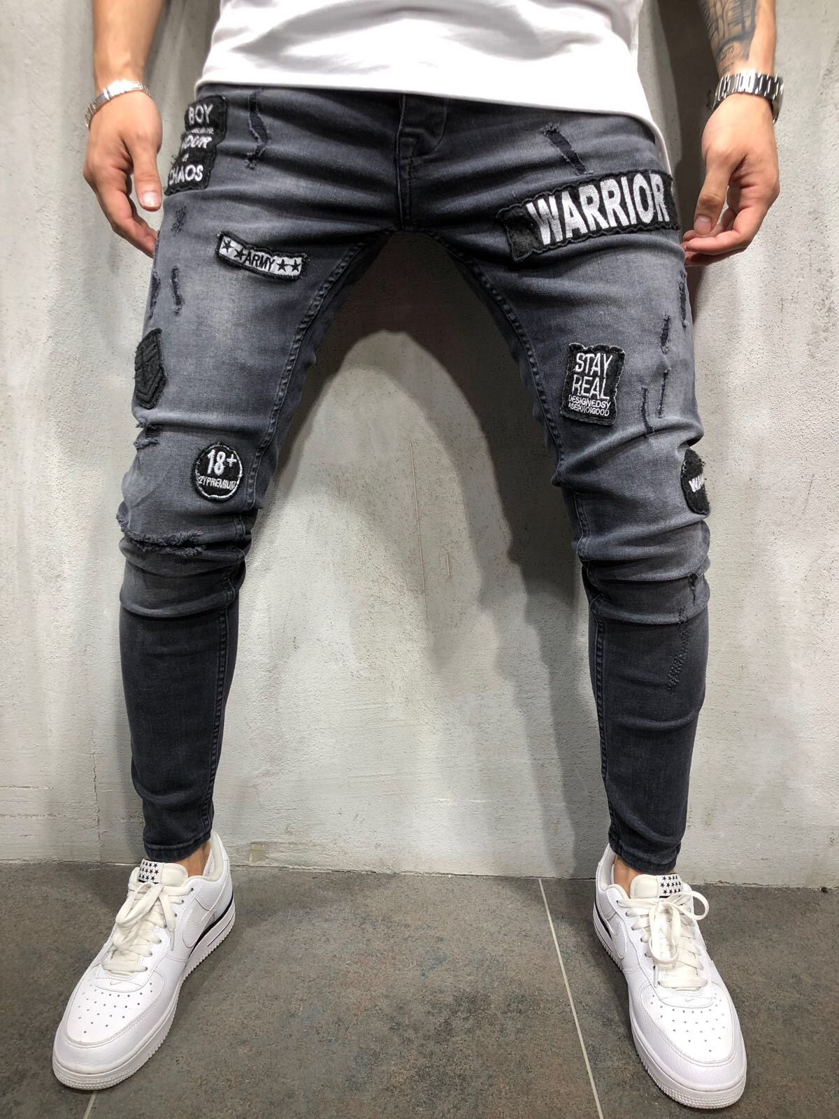 -With Holes Fashion MEN'S Jeans Men's Slim Fit Pants Tattered Jeans Knee Pin Tiao Fashion Locomotive Pants