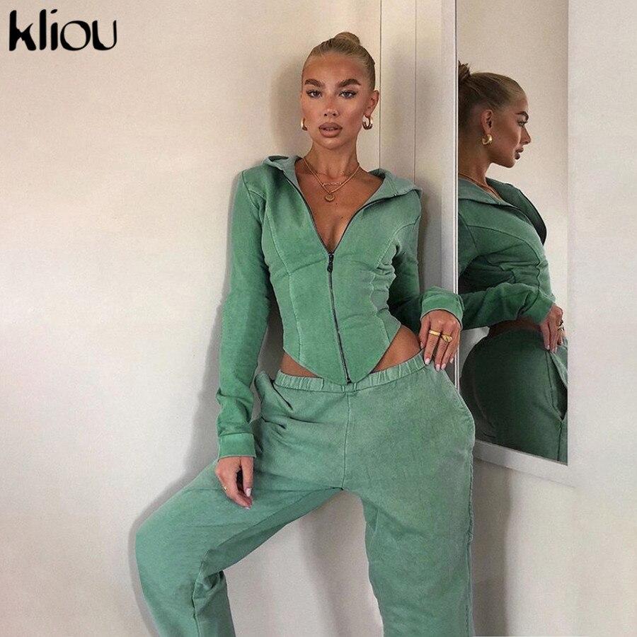 Kliou-Conjunto de dos piezas formado por Top y pantalón, algodón, manga larga, para otoño, 2020
