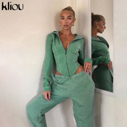 Kliou Cotton Solid Matching Sets 2020 Autumn Full Sleeve Zipper Tops+Pants Outfits Fashion Fitness Casual Two Piece Set Women