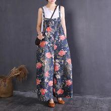 Женский комбинезон с цветочным принтом винтажный джинсовый на