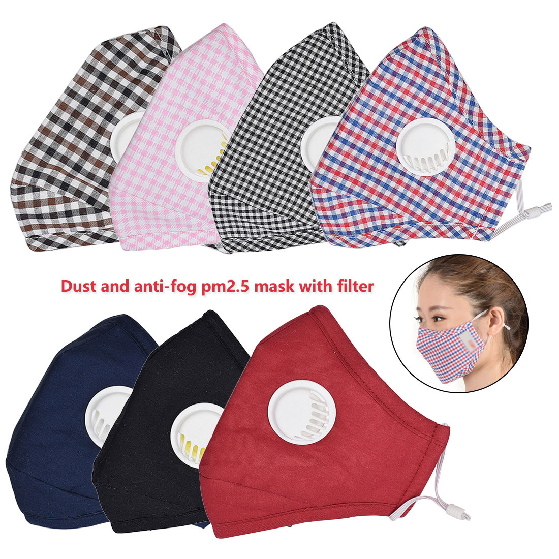 PM2.5  Cotton Anti-smoke Mask Breathing Valve Anti-dust Mask Activated Carbon Filter Mask Black Mask