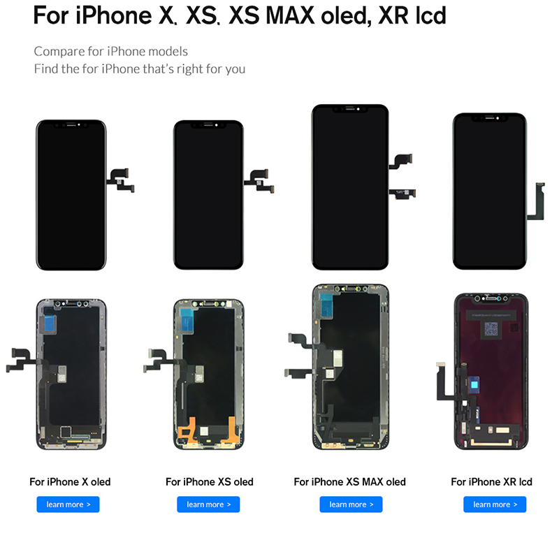 TOP Quality OLED Display For iphone XsMax XR LCD Screen Digitizer with Touch Screen Black For iphone X Xs Display