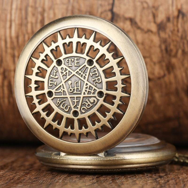 Hollow Pentagram Supernatural Quartz Pocket Watch Chain Men Women Necklace Pendant Chain Birthday Gifts Clock Reloj De Bolsillo