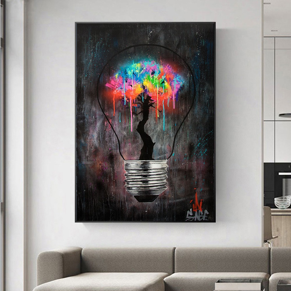 Light Bulb Graffiti Wall Art Canvas Painting Posters Prints Abstract Street Wall Pictures for Living Room Restaurant Decoration