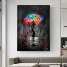 Peinture sur toile avec Graffiti, ampoule lumineuse, Art mural, affiches imprimées, images murales de rue abstraites pour salon, décoration de Restaurant