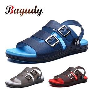 Image 1 - Letnie męskie kapcie sandały obuwie oddychające sandały plażowe męskie odkryte wygodne modne pantofle guma sportowa buty