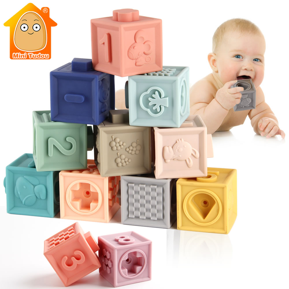 Baby Soft Toys Sensory Silicone Educational Building Blocks 3D Hanging Ball Babies Rubber Teether Squeeze Bath Toys For Toddlers(China)