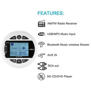 Image 3 - Waterproof Marine Bluetooth Stereo Boat Radio Digital Media Audio FM AM Car MP3 Player USB For ATV UTV SPA Motorcycle Yacht