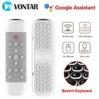 Vontar w2 ar mouse voz controle remoto microfone 2.4g sem fio mini teclado giroscópio para h96 max x88 pro android caixa de tv pc