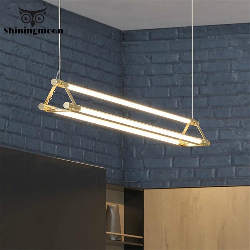 Nordic Gold Minimalist Pendant Lights Simple Long Strip Restaurant Bar Pendant Lamp Modern Luxury Brass Dining Room Hanging Lamp