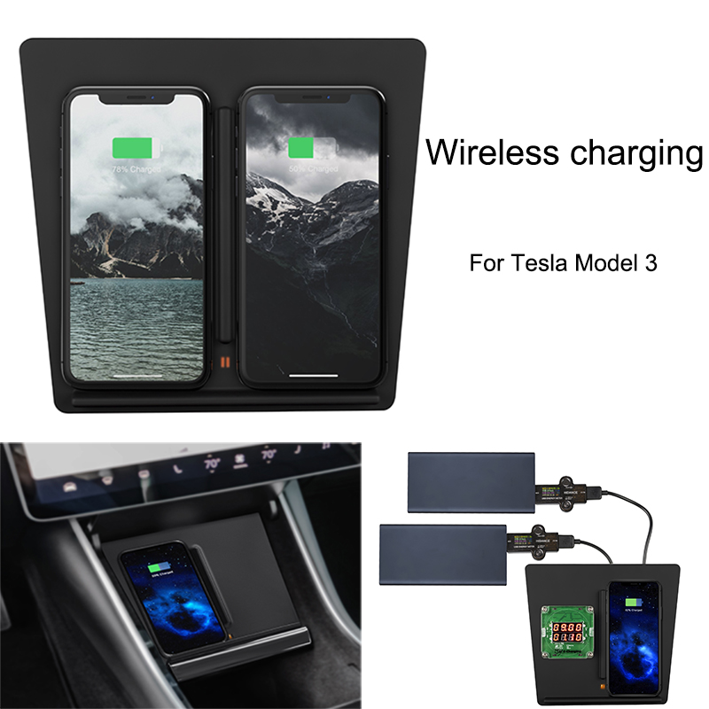 Car Dual USB Center Console Phone Charging Wireless Charger Fast Charger For Tesla Model 3 Accessories
