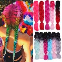 Ombre Jumbo косички синтетические плетеные волосы для наращивания для женщин, вязанные крючком косички, каникалон, волосы для афро-американских