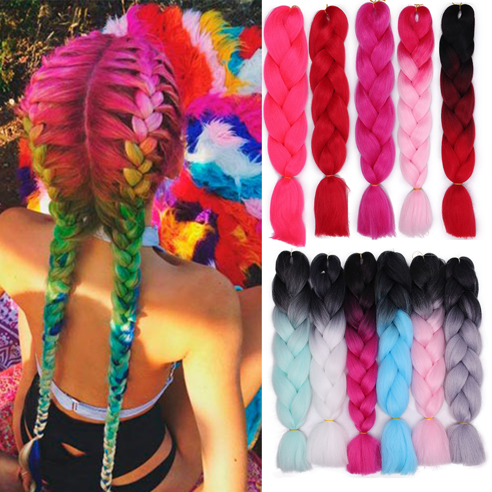 Ombre  Jumbo Braids Synthetic Braiding Hair Extensions For Woman Crochet Braids  Kanikalon Hair Crotchet For African American