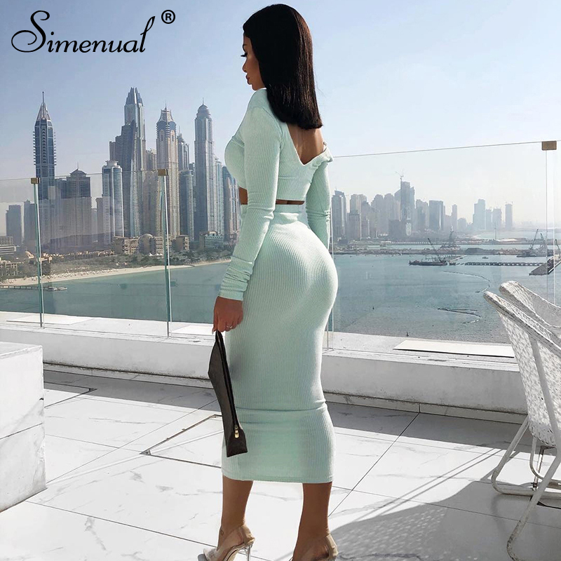 Simenual Ribbed 2019 Autumn Matching Set Fashion Sexy Solid Women 2 Piece Outfits V Neck Bodycon Crop Top And Skirt Sets Skinny