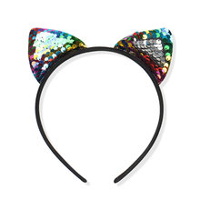 1PCS Colorful Can flip Sequins Shining Cat Ear Girl Hairband Cat Ears Kid Hair Accessories For Women Birthday Party Gift(China)