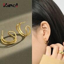 цена на Kinel Earrings Korea Style Woman 100% 925 Sterling Silver Earrings for Women Golden Layered Lines Earrings Fashion Jewelry