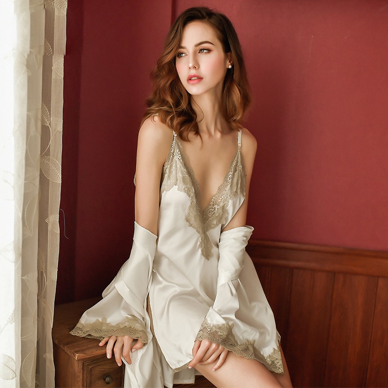 Image 5 - Yhotmeng sexy temptation female silk sexy lingerie female sling V neck adjustable hollow lace open back dress nightdress suit-in Robe & Gown Sets from Underwear & Sleepwears
